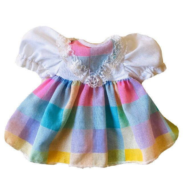 Doll Dress Baby Doll Clothes 10 12 Inch Doll Dress Plaid Lace Trim Doll Clothes In 2020 Baby Doll Clothes Doll Dress Doll Clothes