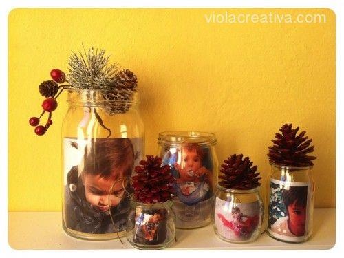 Cornice foto da barattoli di vetro