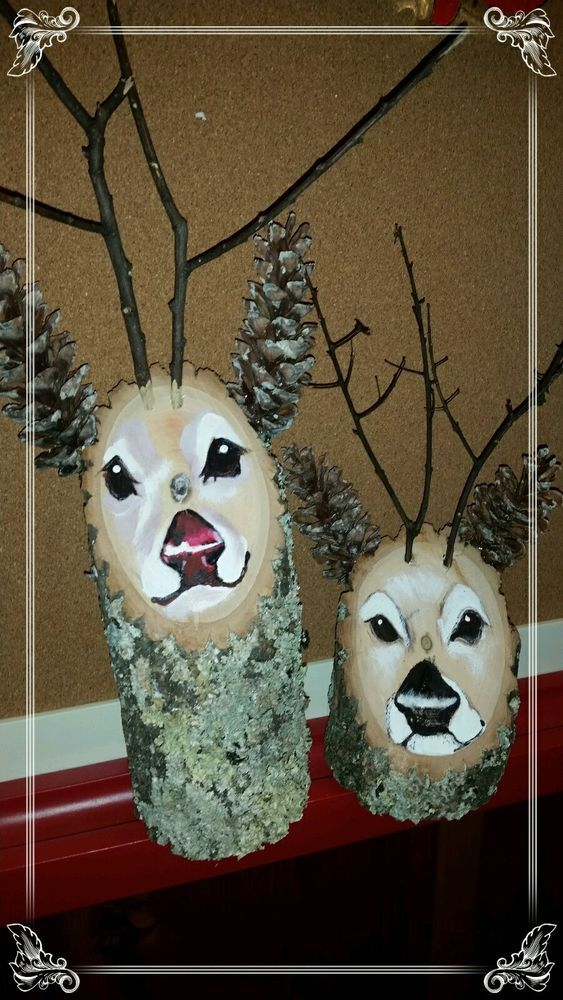 Handmade Reindeer Log Christmas deco. Current eBay :: Painting technique gives a three dimensional look!