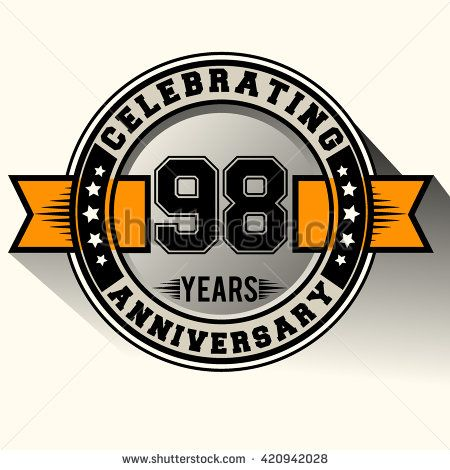 Celebrating 98th anniversary logo, 98 years anniversary sign with ribbon, retro design. - stock vector