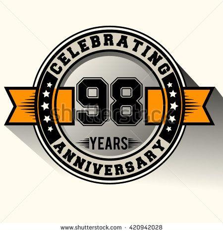 Celebrating 98th anniversary logo, 98 years anniversary sign with ribbon, retro design. - stock vector