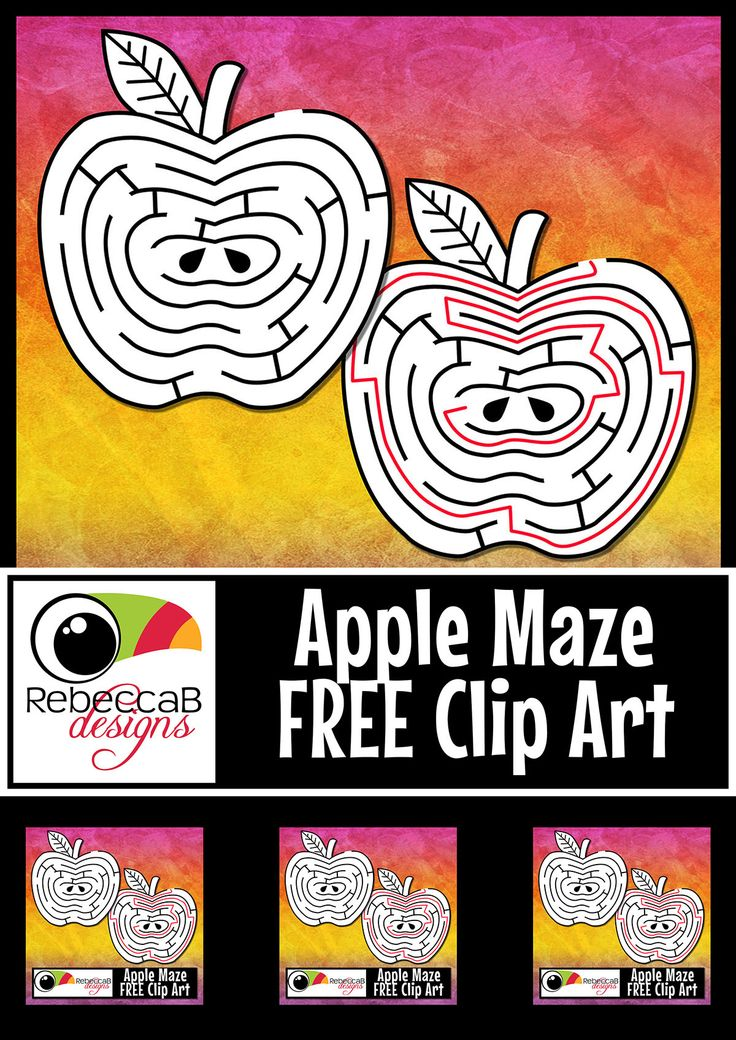 #FreebieFriday This FREE Apple Maze Clip Art contains an apple shaped maze as well as the solution with white fill. You will also receive black line only versions. There is one entrance into the apple maze and one solution to reach the center, solution included. http://designedbyteachers.com.au/marketplace/maze-clip-art-free-apple-maze-with-solution-back-to-school-maze/