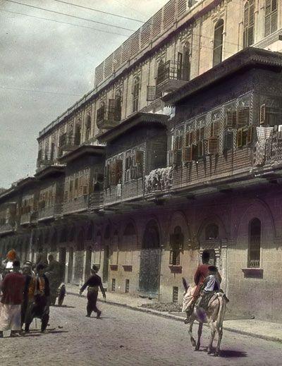 Aleppo Ottoman architecture street scene 1900 A.D.