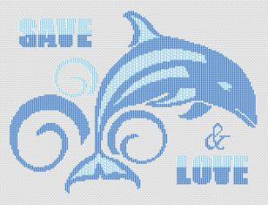 Save Dolphins free cross stitch pattern