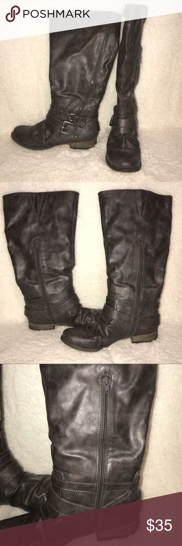 Carlos Santana wide calf boots Dark grey Carlos Santana boots. New, only worn to try on. Size 9.5 wide calf. Carlos Santana Shoes Heeled Boots