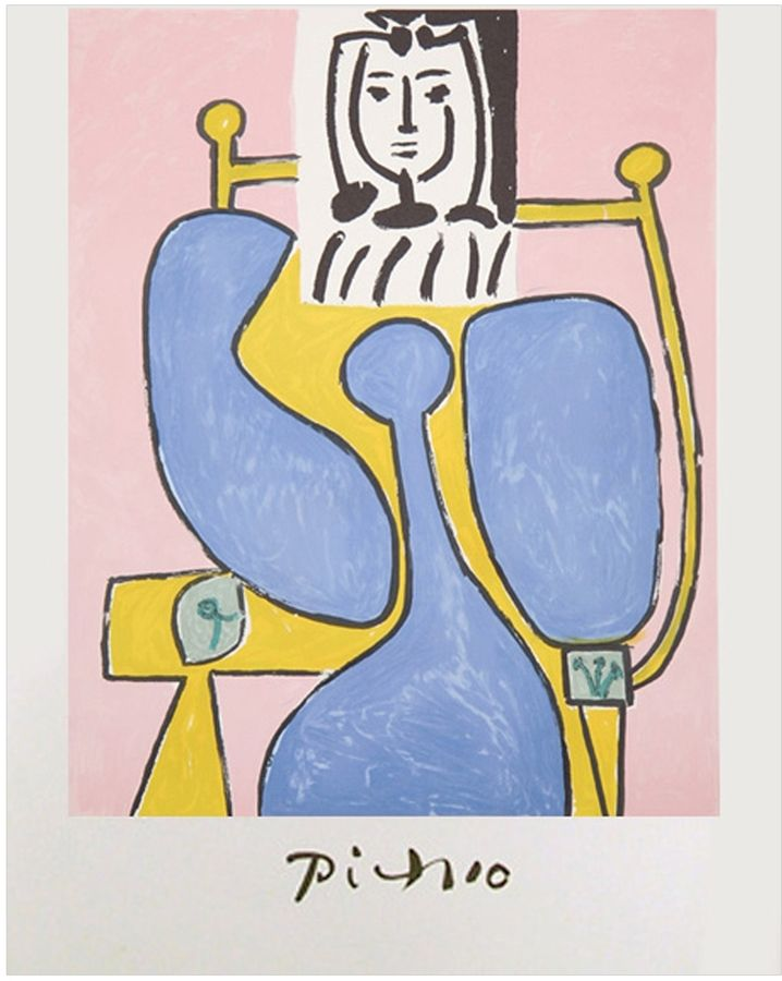 RoGallery Femme Assise a La Robe Bleue by Pablo Picasso (Lithograph)