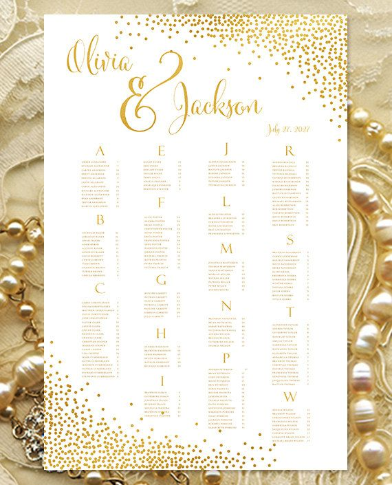 """Wedding Seating Chart Poster """"Confetti"""" Gold Reception Seating Plan Poster RUSH Digital File Alphabetical or Table No. Order Portrait"""