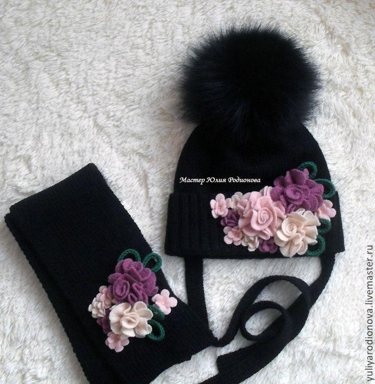 Купить Мериносовая шапочка для девочки - черный, однотонный, зимняя шапка, вязаная шапка, вязание на заказ