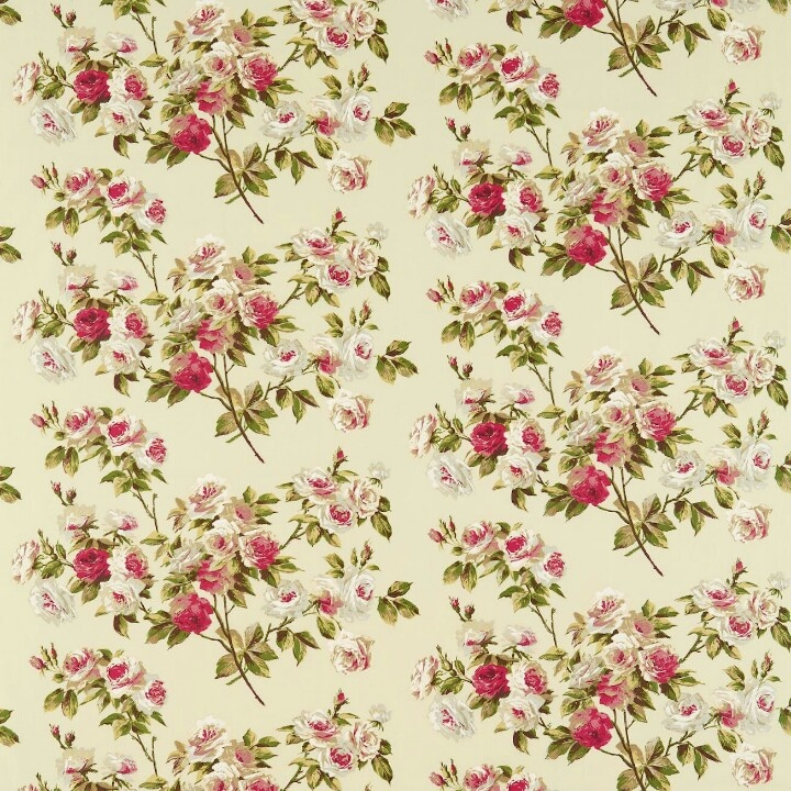 Eglantine fabric in rose/moss from Vintage collection by Sanderson