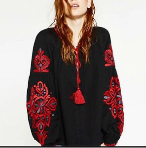 2016-NEW-Women-tassels-EMBROIDERED-SLEEVES-TUNIC-BLOUSE-SHIRT-Top-S-M-L