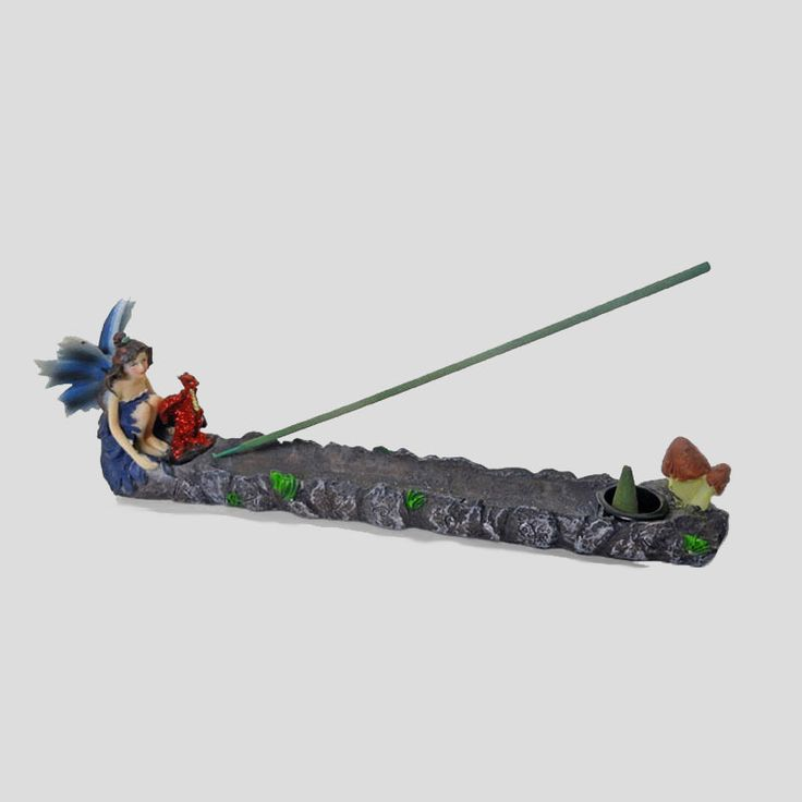 Fariy Pixie with Dragon Incense Stick and Cone Combo - IBH631 - Fairy Pixie with outspread wings sitting with a dragon polyresin incense stick and cone holder and burner combo. Orchid fairy - Mushrooms at the end near the incense holder. Use with our incense sticks and incense cones. FOR SALE