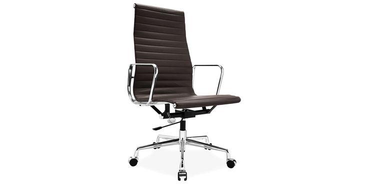 Eames kontorstol EA 119 anilin skinn mørkebrun - Anilin skinn - Mørkebrun