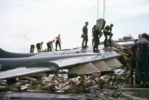 Sea Vixen FAW.1 accident HMS Centaur during 4th Commission (Photo: John Holton)