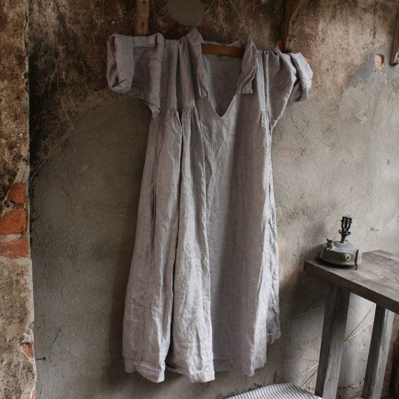 Zachte grijze linnen jurk van MegbyDesign op Etsy