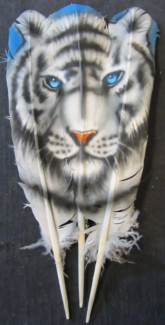 Hand Painted Triple Turkey Feather   WHITE TIGER by AIRBRUSHTEXAS, $28.00