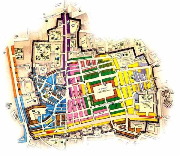 Map of the Grand Bazaar, Istanbul, Turkey. One of the largest and oldest covered markets in the world, this maze of 65 winding, covered streets (1,350 acres) is crammed with 4,000 tiny shops, cafés, restaurants, fountains, mosques & courtyards.