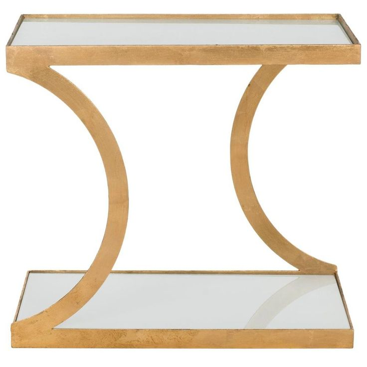 Sullivan Gold And White Glass Top End Table, Gold/White