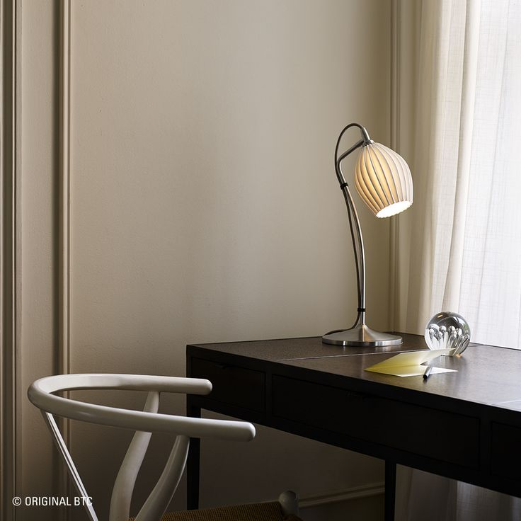 Achieve a classic, yet contemporary interior with Original BTC's Fin Table Light. #OriginalBTC #lighting #FinCollection #interiordesign #desklight