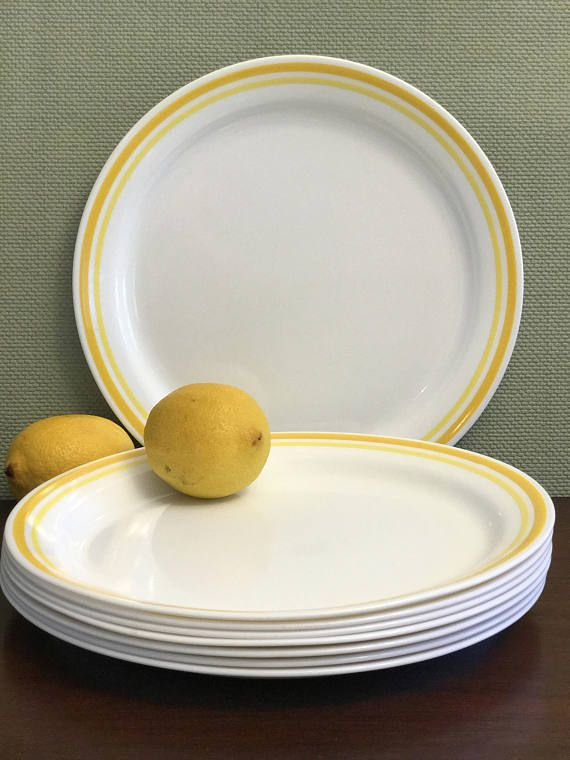 Vintage Citrus 2 Tone Yellow Striped Corelle Plates This Set Comes With 4 Dinner Is Microwave And Dishwasher Safe Break Resistant