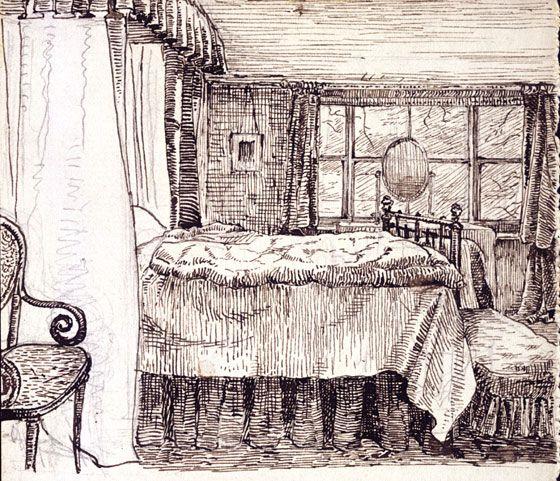 Bedroom interior at camfield place hatfield beatrix for Beatrix potter bedroom ideas