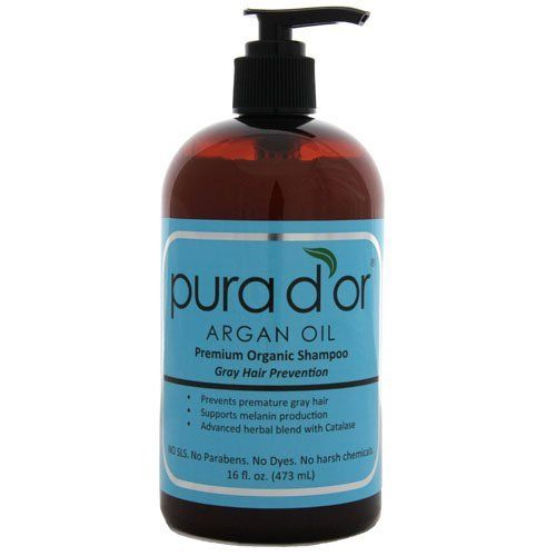 Pura d'or Gray Hair Prevention: Premium Organic Shampoo (16 fl. oz.) by Pura d'or. $37.00. Our naturally organic shampoo for gray hair treatment is free of harsh chemicals that are the current and leading cause of many chronic hair conditions. Our shampoo is free of sodium lauryl sulfate (SLS), DEA, parabens, gluten, artificial colors, artificial fragrances and harsh preservatives.   This gentle formula is infused with organic argan oil, B vitamin complex, tea t...