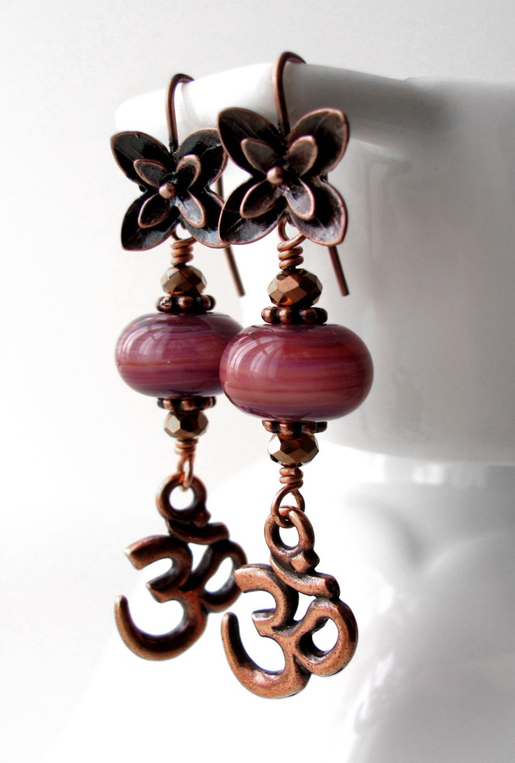 Copper OM Earrings with Flower, Mauve Handmade Lampwork Glass Beads. $48.00, via Etsy. LOVE
