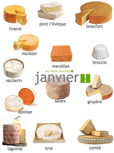 Produits de saison janvier, fromages - My Little Recettes
