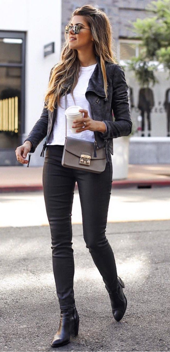 #winter #outfits women's white crew-neck shirt and black leather zip-up jacket. Click To Shop This Look.