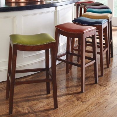 Julien Leather Bar Stool At Counter In Red Blue Yellow