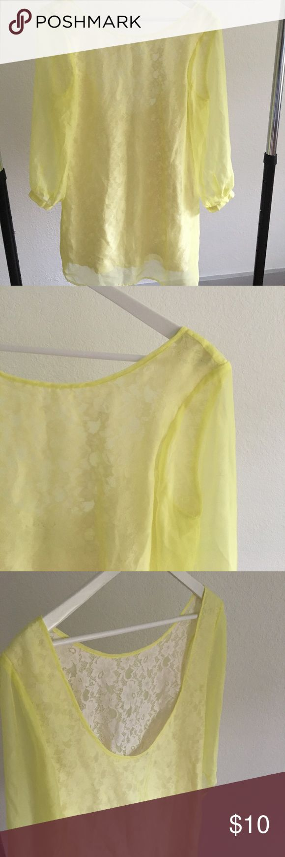 Light yellow lace inside summer dress Worn couple times. Light yellow dress with lace inside. Perfect for a vacation:) Forever 21 Dresses Mini