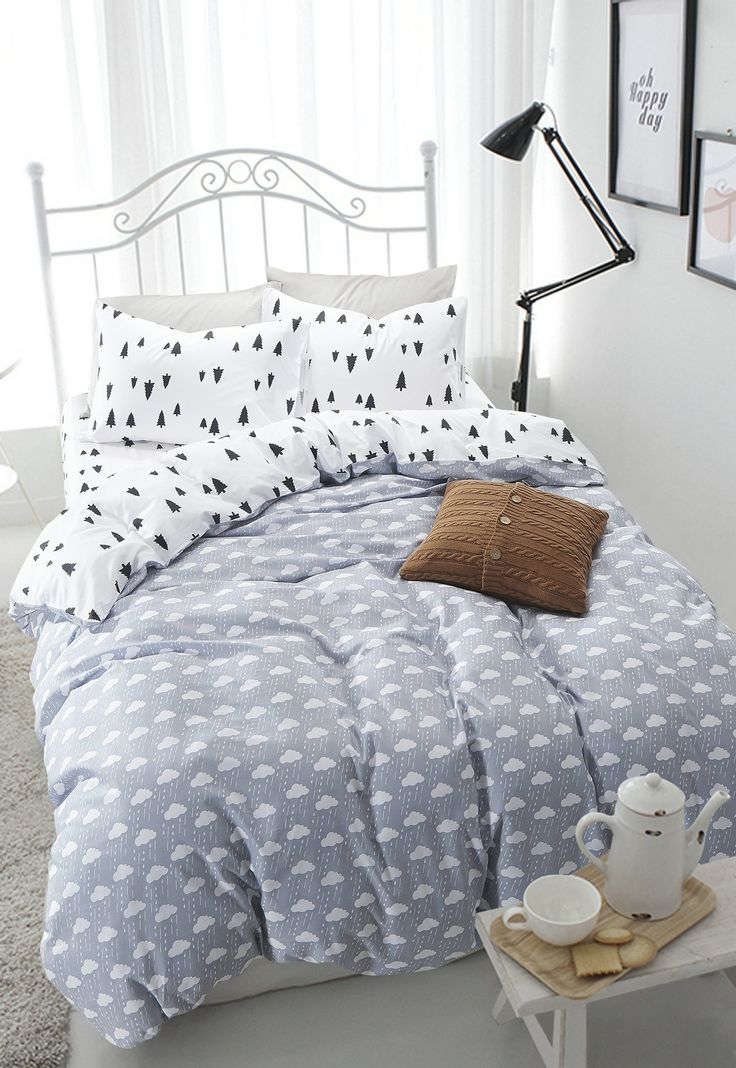 Lt Twin Full Size 100% Cotton 4-pieces Black White Gray Pine Tree Cloud Prints Fitted Sheet Sets (Mattress Cover) Ruffle Duvet Cover Set/bed Linens/bed Sheet Sets/bedclothes/bedding Sets/bed Sets/bed Covers/5-pieces Comforter Sets Bed in a Bag (Full, 5pcs with comforter)