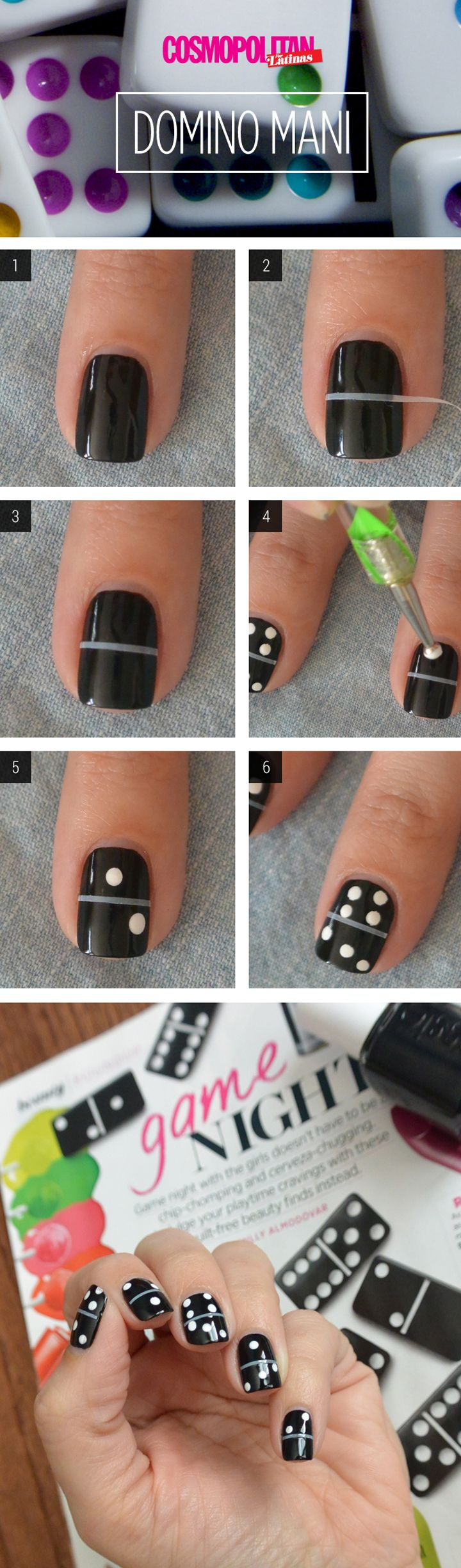 Nail Art How-To: Fun Domino Manicure by @NailsbyArelisP Instead of leaving tape on put white on underneath then tape, then paint black