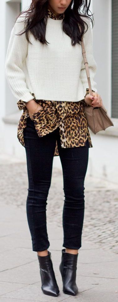 Layer your leopard shirt under a sweater and let the collar and sleeves pop out for a cool look