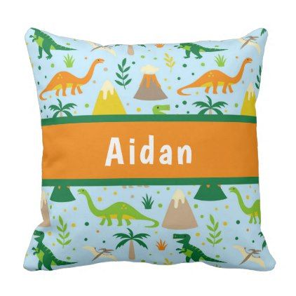 Dinosaur Blue Green Orange Throw Pillow - baby gifts child new born gift idea diy cyo special unique design