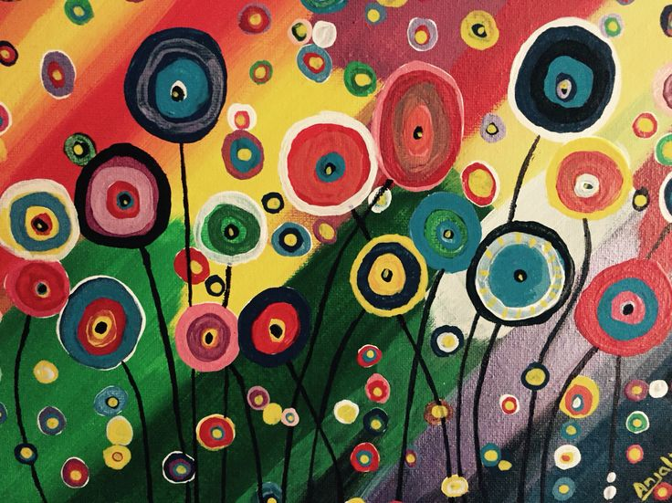 Colorful flowers on canvas. Lost deep in colorful dreams.