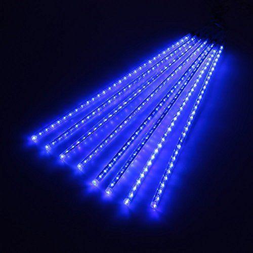 Lixada LED guirlande lumineuses en forme de pluie de météorites AC 100-240V Pour DC 5V 8 Tubes de 50cm pour Festival du Nouvel An Noël…