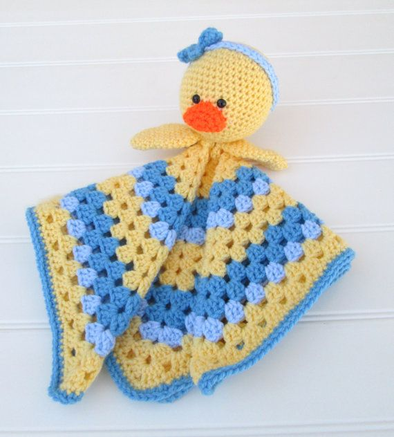 Crochet Yellow and Blue Duck Lovey Security by SugarandSpiceKate