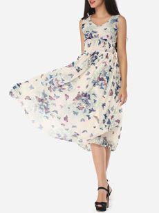 Printed Captivating V Neck Maxi-dress