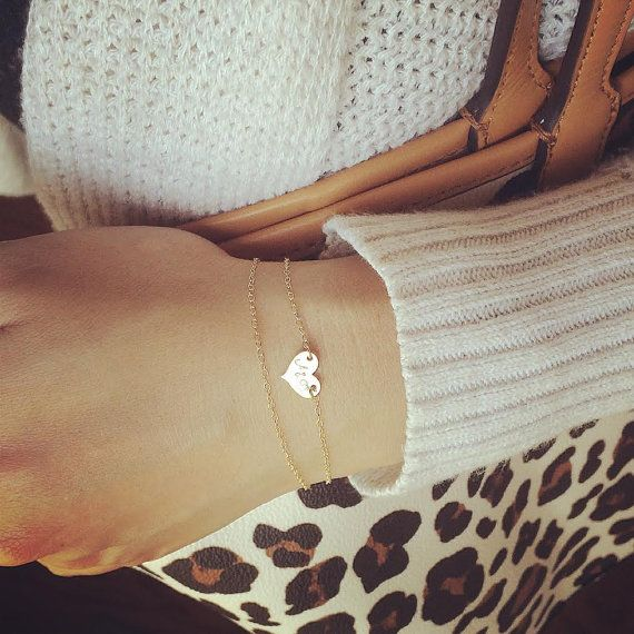 Dainty Medium Heart Bracelet  Heart Initial Layered by cocowagner