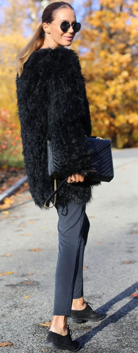 By Benedicthe Black Faux Fur Jacket Fall Street Style Inspo by Stylista