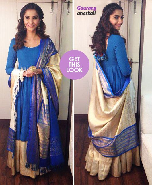 Style diva Sonam Kapoor wore a handwoven blue anarkali created especially for her by Gaurang for the popular Comedy Nights with Kapil show.