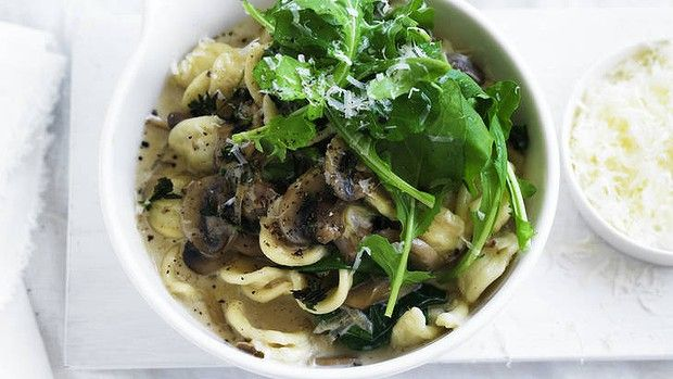 Orecchiette pasta with mushrooms, spinach and pecorino.