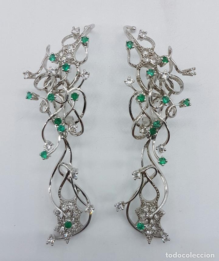 786a9d0cf9aa Impresionantes pendientes en plata de ley con acabado en oro blanco ...