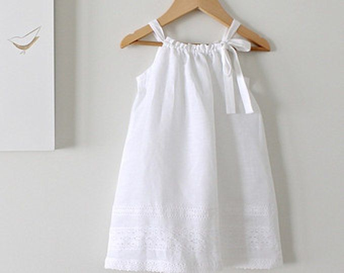 Toddler Girls White Linen and Lace Dress-Baby Baptism Dress-Beach Photo-Eco Friendly Clothing-Handmade Children Clothing by Chasing Mini