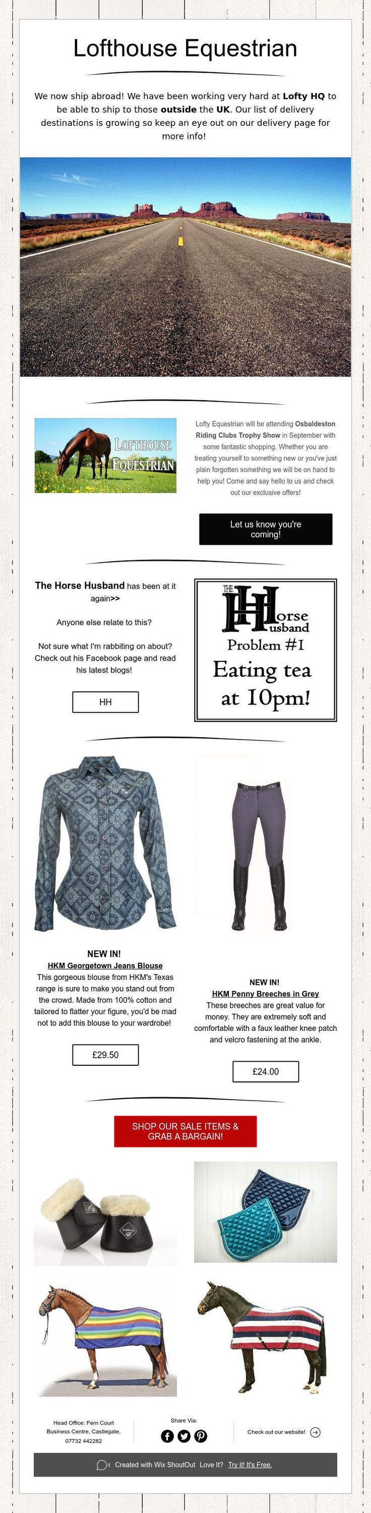 Lofthouse Equestrian... We now ship abroad plus SALE items now online!