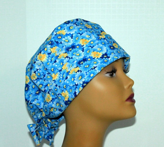 Floral Pixie Scrub hat by UniScrubCaps on Etsy, $12.99