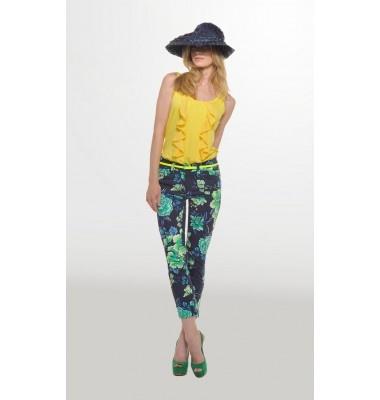 Βαμβακερό εμπριμέ παντελόνι 7/8, 1-300309  floral trousers women's fashion