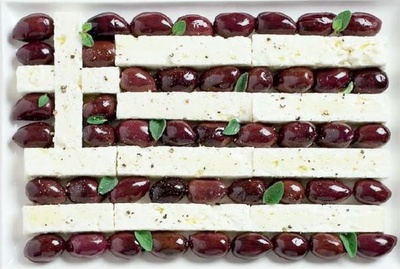 Feta Cheese and Kalamata Olives in the shape of the Greek Flag! Luv this!