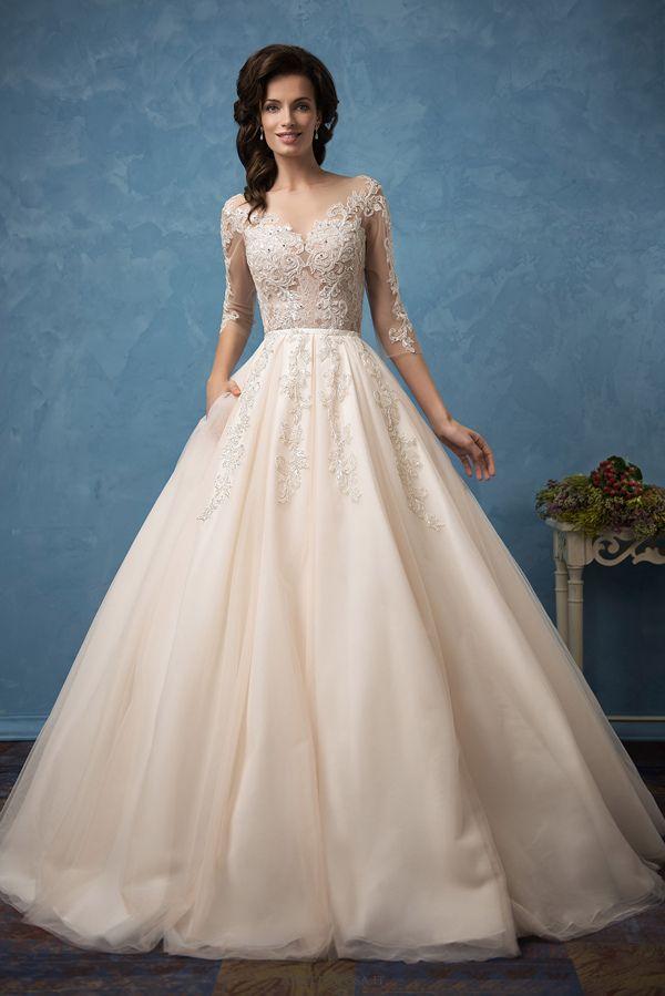 v neck a line amelia sposa wedding dresses 2017