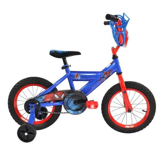 """The Huffy Spider Man 14"""" Bike will get your little guy out the door and riding his very own bike in no time. This brilliantly colored Spider-Man bike is bright and exciting and he'll love acting out his own Spidey adventures. With traditional boys' bike styling, the size is just right for a beginning rider. And the included training wheels will be a bonus until he's able to manage 2 wheels on his own. Let's not overlook the web between the handlebars. This isn't just ..."""